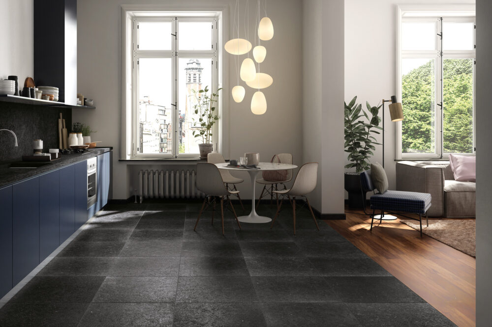 Belgian Blue Stone - Black Soignies floor tiles - tumbled limestone