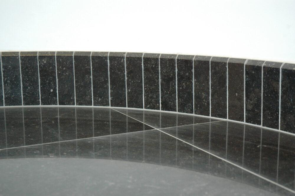 Belgian Blue Stone - Floor tiles Black honed - skirting board