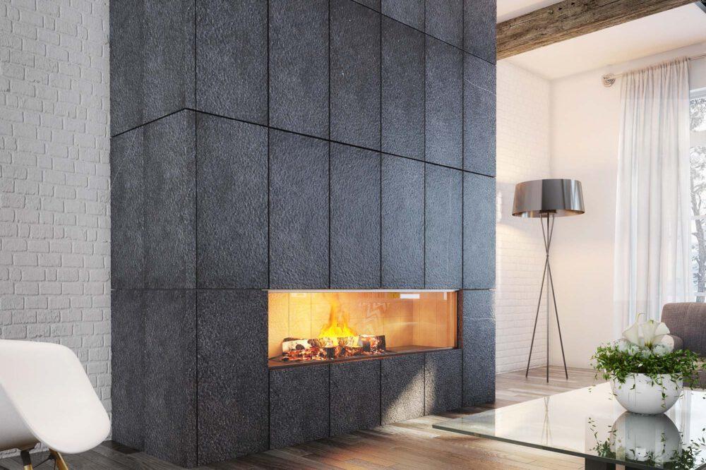 Belgian Blue Stone - Wall tiles Spuntato - mantelpiece