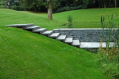 escalier jardin pierre bleue belge